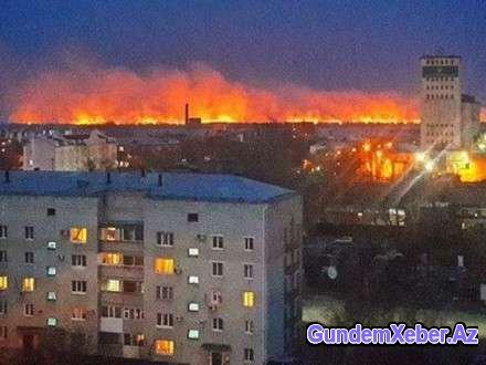 Rusiyanın 250 minlik şəhəri alovlar içərisində... - FOTO