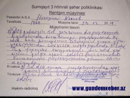 Sumqayıt səhiyyəsinin müdiri müharibə iştirakçısından 6 min rüşvət tələb edən həkimi müdafiə edib-VİDEO/FAKT
