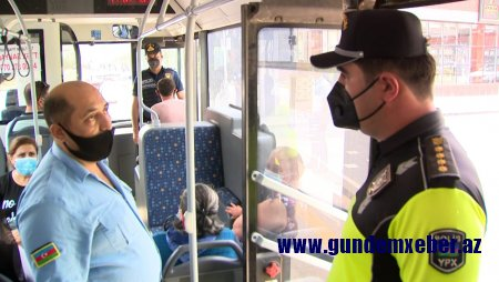 Sumqayıtda yol polisi avtobus və taksilərdə maska taxmayan şəxslərə qarşı profilaktik tədbir keçirib